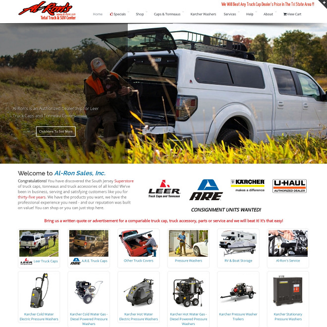 Al-Ron's, your South Jersey source for LEER and A.R.E. truck caps and tonneaus and truck accessories.