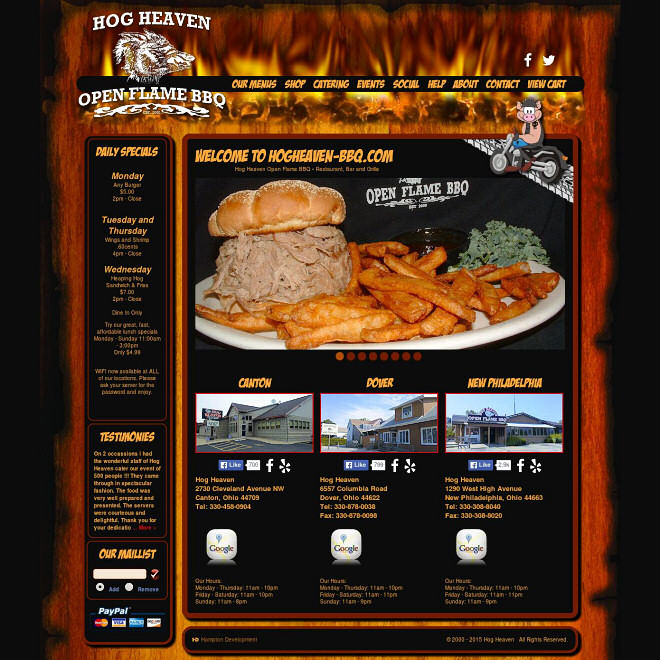 Hog Heaven Open Flame BBQ. Restaurant, Bar and Grille. Multiple Ohio Locations